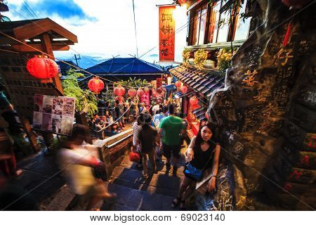 The seaside mountain town scenery in Jiufen, Taiwan