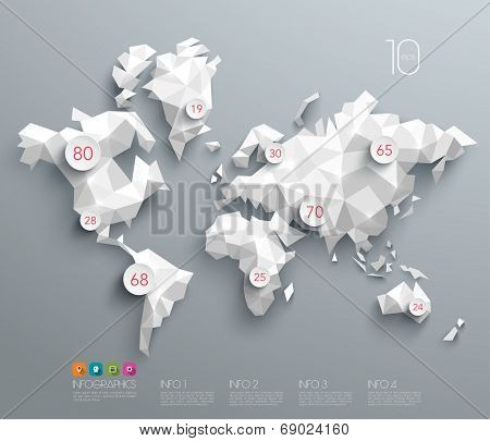 Abstract Vector Polygonal World Map.