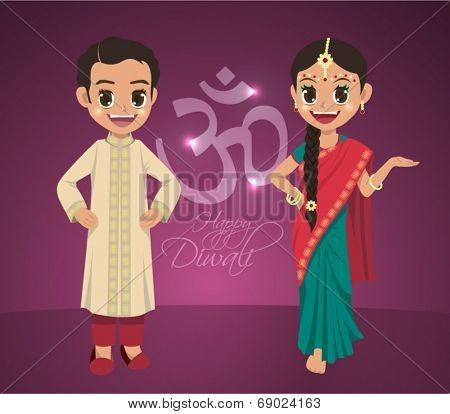 Vector Indian Boy and Girl Celebrating Deepavali - Happy Diwali. Translation: Diwali Aum (Om) Symbol