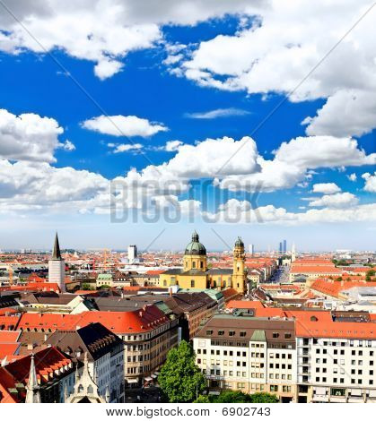 The aerial view of Munich city center from the tower of the Peterskirche poster