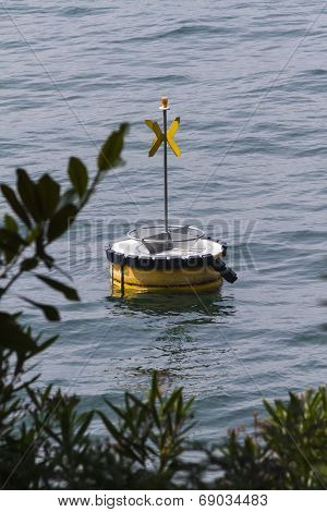 a lifebuoy on the lake for security