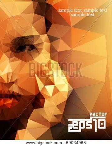 eps10 vector polygon shape half face woman background
