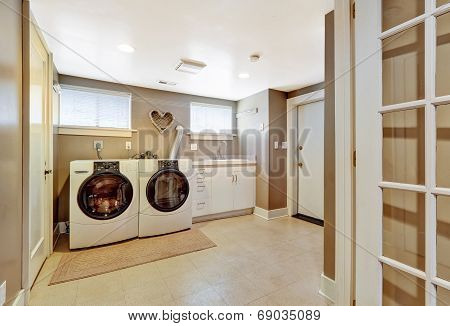 Laundry Room Interior In Grey Color