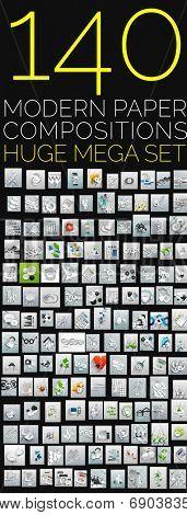 3d paper shadow backgrounds - huge mega collection of 140 modern design templates