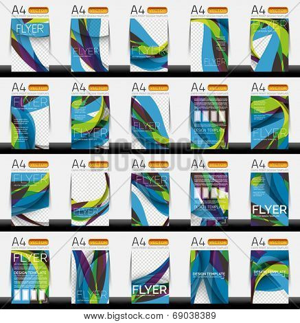 Set of business geometric design flyer templates - huge mega collection of 20 backgrounds