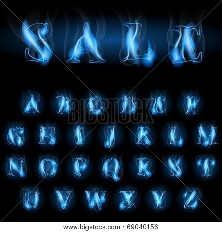 sale blue fire latin alphabet letters