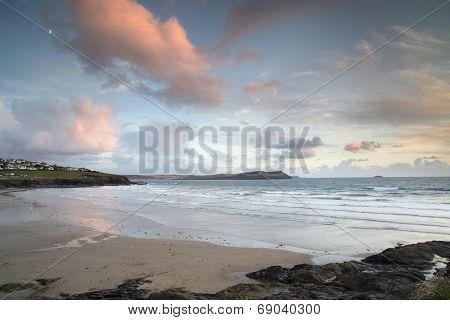 Polzeath Beach In Cornwall England At Sunset