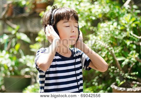 Little Boy Listening The Sound Of Nature