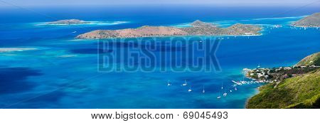 Panoramic landscape of beautiful tropical coast of Virgin Gorda and neighboring islands at Caribbean