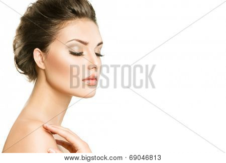 Beautiful Young Woman with Clean Fresh Skin close up isolated on white background. Beauty model Portrait. Beautiful Spa Woman profile portrait. Perfect Fresh Skin. Youth and Skin Care Concept  poster