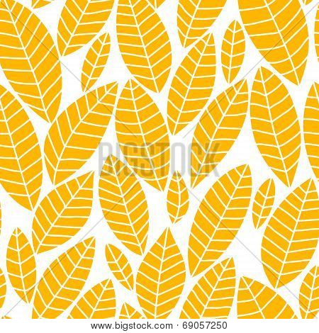 Autumn yellow leaves on white seamless pattern, vector