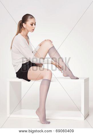 Beautiful Woman Wearing Knee Lycra Socks - Full Body