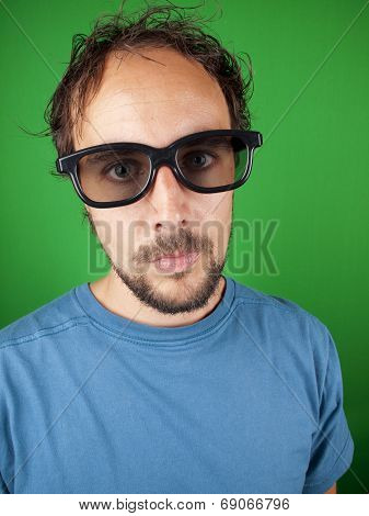 Thirty Year Old Man With 3D Glasses Is Watching A Boring Movie
