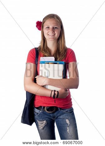 Young Female Teenage Student Carrying Books Over A White Background