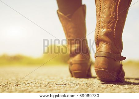 Female With Cowboy Boots