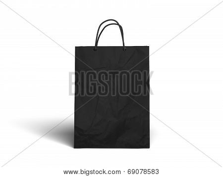 Black Paper Bag Isolated On White