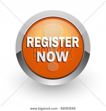 register now orange glossy web icon