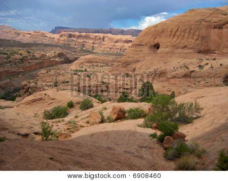 Desolate landscape around Moab