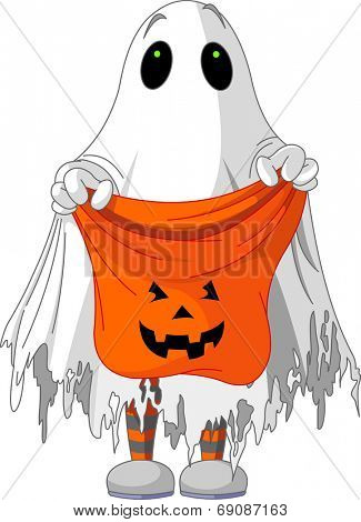 Child  in ghost costume trick or treating. Raster version.