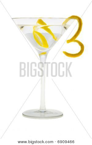 Martini Cocktail With Lemon Peel
