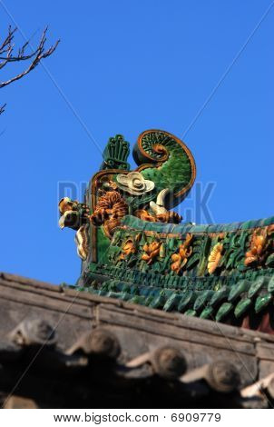 Dragon Roof Of Chinese Temple At Shanxi Province China