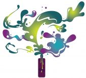 bottle and abstract liquid pattern design,vector illustration. poster