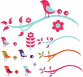 a vector illustration set of beautiful sparrow including branches leaf and flowers. poster