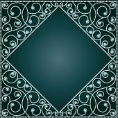 illustration background frame with ornaments of precious stones poster