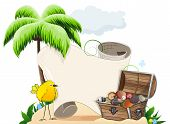 Tropical island with palm tree tropical bird and treasure chest poster