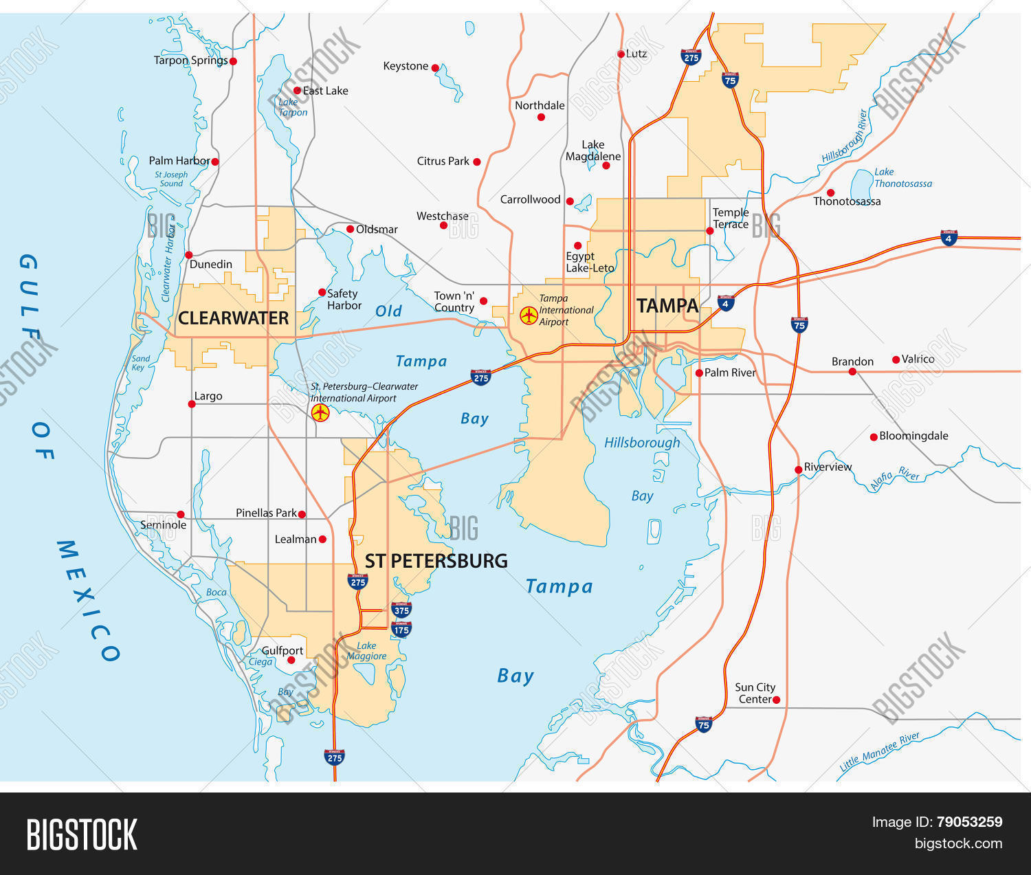 Tampa Bay Area Map Vector & Photo (Free Trial) | Bigstock