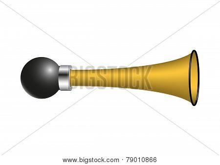 Vintage air horn in golden design on white background poster