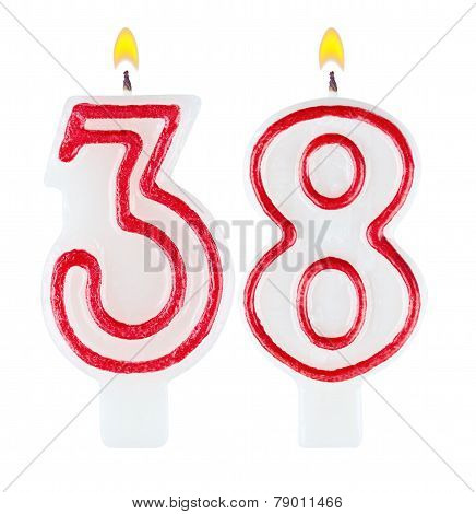 Birthday candles number thirty eight isolated on white poster