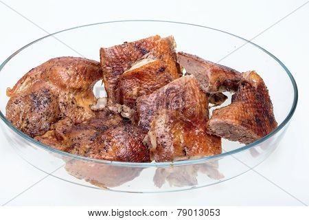 Close up of pieces of the roasted goose
