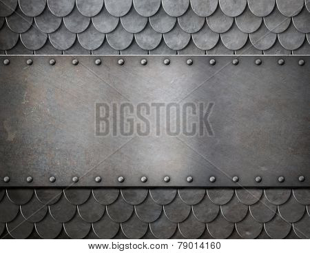 metal plate over scales armor background