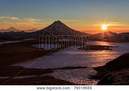 Volcanic Landscape On Kamchatka: Sunrise Over Viluchinsky Volcano