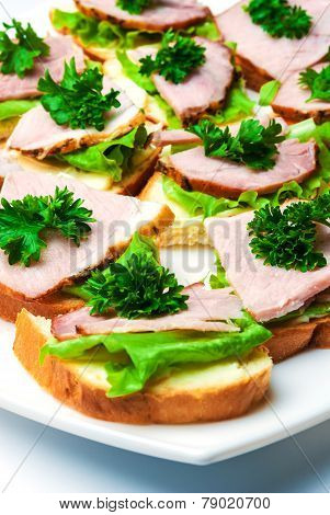Closeup of delicious ham and salad canapes sandwiches with parsley lying on a white plate. ** Note: Shallow depth of field