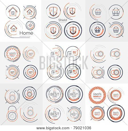 Thin line neat design large logo colletion - 36 vector clean modern icons and stamps