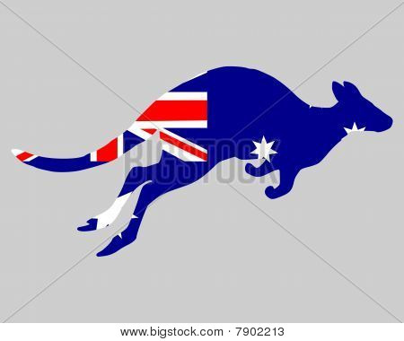Detailed and colorful illustration of flag of Australia with kangaroo poster
