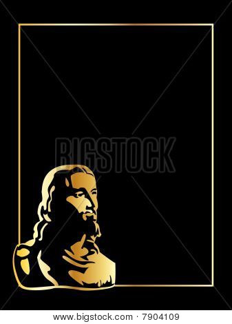 the vector gold jesus on black background
