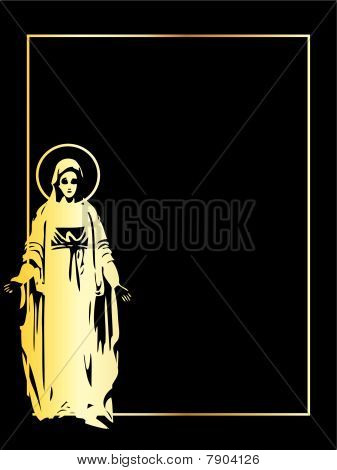 the gold vector Virgin Mary statue