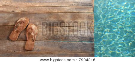 Brown Sandels On Withered Wood