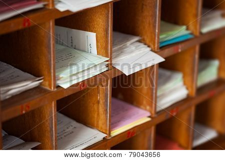 Phuket, Thailand - Circa Jan 2012: Cabinet With Notes For Divination In The Interior Of A Buddhist T