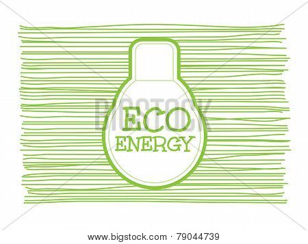Eco Energy Word Combined With Light Bulb On Scribble Greenline Background