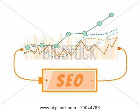 Seo Word Charging Battery Power With Grow Up Graph Background