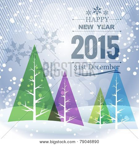 happy new year greeting card with colorful christmas trees on the left
