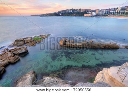 Looking Down Into Giles Baths Coogee Sunrise