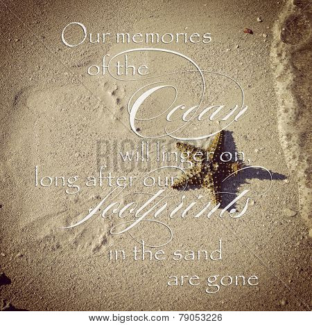 Instagram Image Of Footprints In Sand As Waves Roll In With Quote