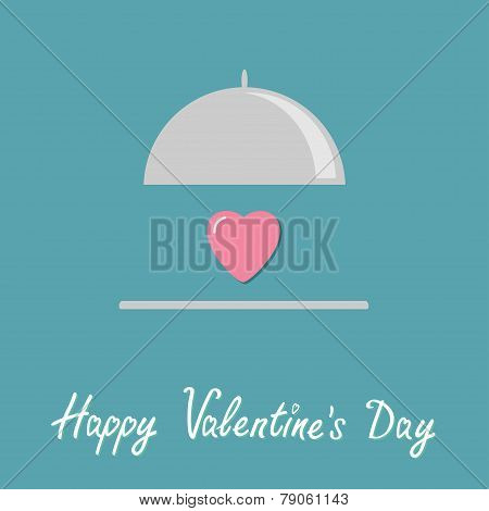 Silver Platter Cloche And Pink Heart. Flat Design Style. Happy Valentines Day Card