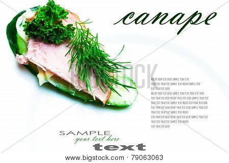 Closeup of delicious ham and cucumber canapes sandwiches with parsley with easy removable text. Horizontal composition.