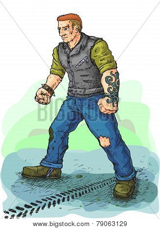 Biker In Leather Vest Vector